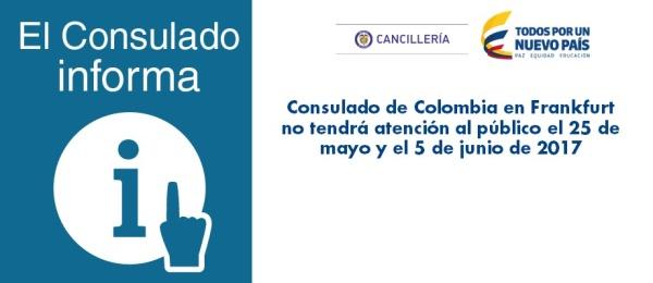 Consulado de Colombia en Frankfurt no tendrá atención al público el 25 de mayo y el 5 de junio