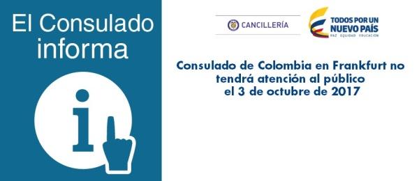 Consulado de Colombia en Frankfurt no tendrá atención al público el 3 de octubre