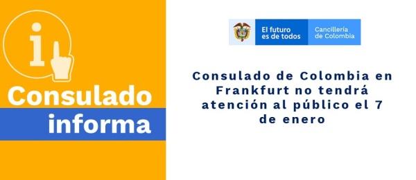 Consulado de Colombia en Frankfurt no tendrá atención al público el 7 de enero de 2020