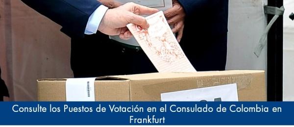 Consulte los Puestos de Votación en el Consulado de Colombia en Frankfurt en el 2018