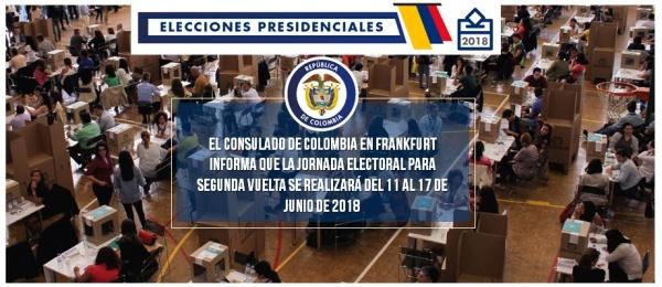 El Consulado de Colombia en Frankfurt informa que la jornada electoral para segunda vuelta se realizará del 11 al 17 de junio de 2018