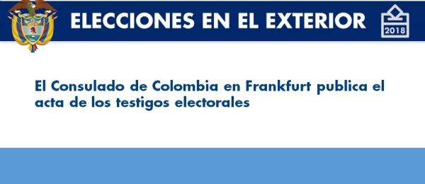 Consulado de Colombia en Frankfurt publica el acta de los testigos electorales