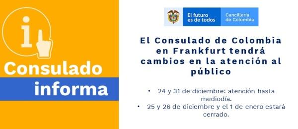 El Consulado de Colombia en Frankfurt tendrá cambios en la atención al público
