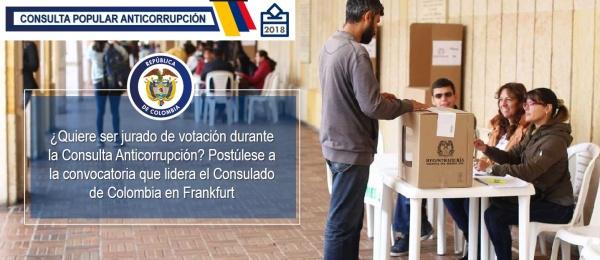¿Quiere ser jurado de votación durante la Consulta Anticorrupción? Postúlese a la convocatoria que lidera el Consulado de Colombia en Frankfurt