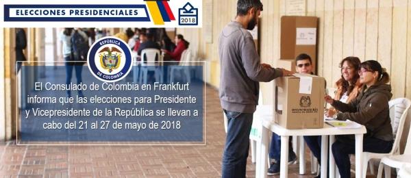 El Consulado de Colombia en Frankfurt informa que las elecciones para Presidente y Vicepresidente de la República se llevan a cabo del 21 al 27 de mayo de 2018