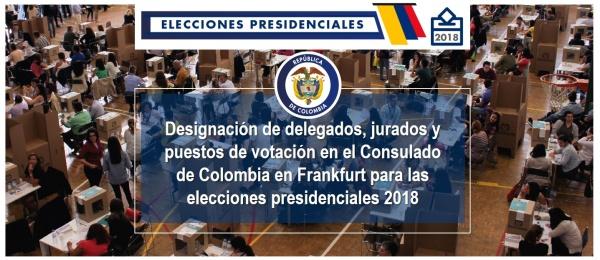 Designación de delegados, jurados y puestos de votación en el Consulado de Colombia en Frankfurt para las elecciones presidenciales 2018