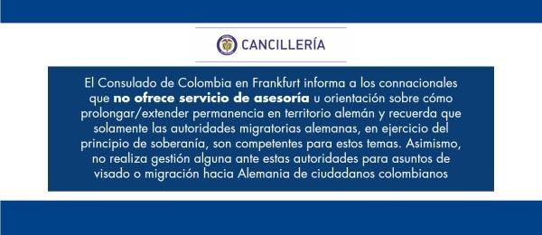 El Consulado de Colombia en Frankfurt no ofrece de asesoría sobre cómo extender la permanencia en territorio alemán