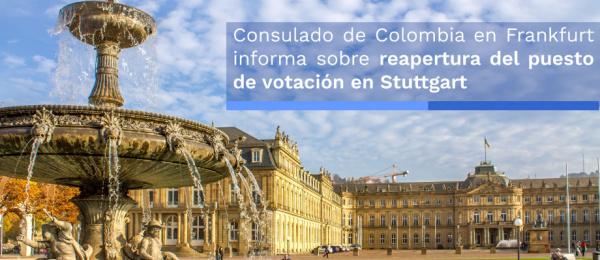 Consulado de Colombia informa sobre reapertura del puesto de votación en Stuttgart