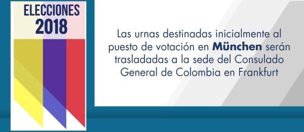 Las urnas destinadas inicialmente al puesto de votación en München serán trasladadas a la sede del Consulado General de Colombia en Frankfurt